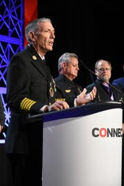 Fire-Rescue Chief Mike Murphy speaks to the 800 attendees. Marco Island first responders, city staff, and host JW Marriott were recognized for their efforts during and after Hurricane Irma during a security dealers' conference at the hotel on Saturday.