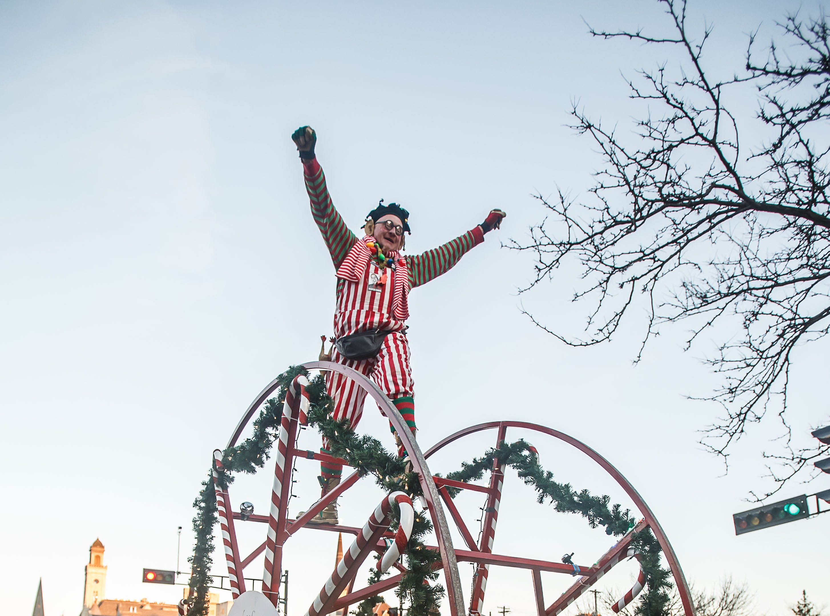 Melvin the Whacky Wheeler delights parade-goers during the 56th annual Waukesha Christmas Parade on Sunday, Nov. 18, 2018.