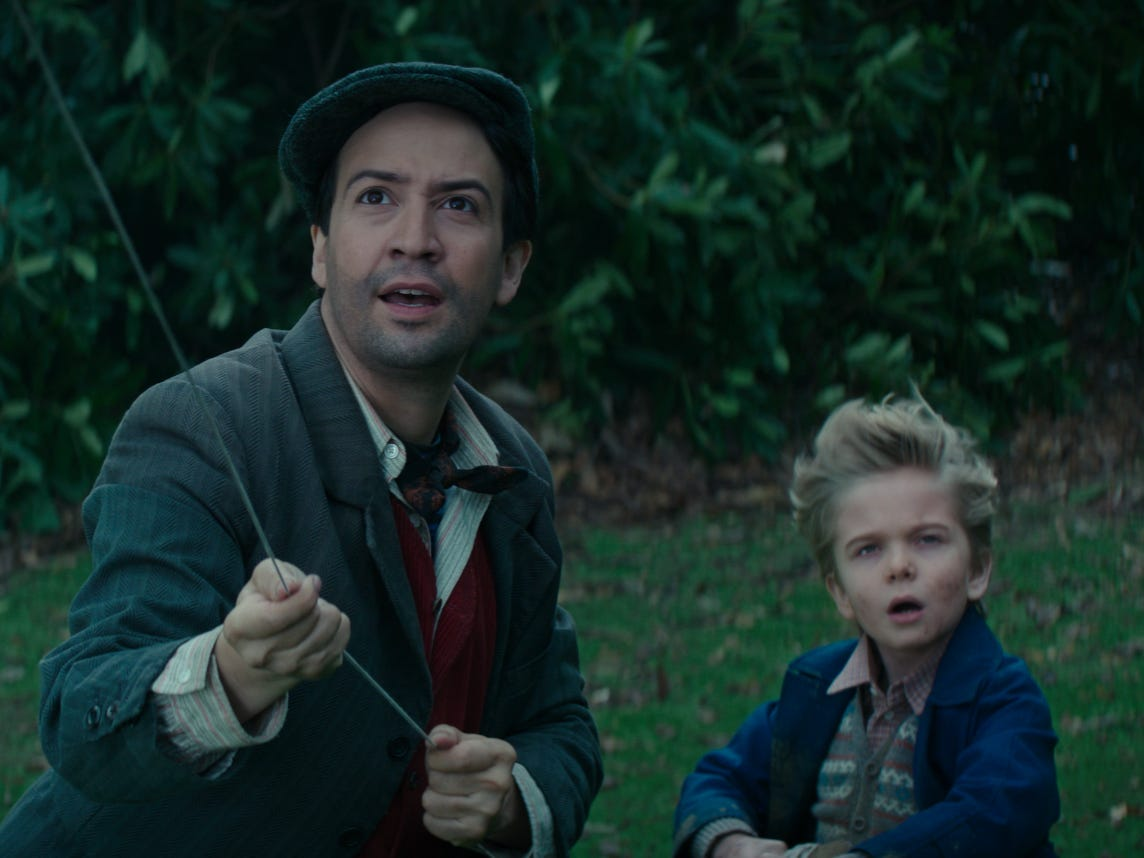 "Lin-Manuel Miranda (left, with Joel Dawson) stars as Jack the chimney sweep in ""Mary Poppins Returns."""