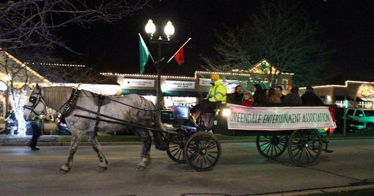 The Greendale Entertainment Association sponsors horse wagon rides on the north end of Broad Street during 'A Dickens of a Village.'