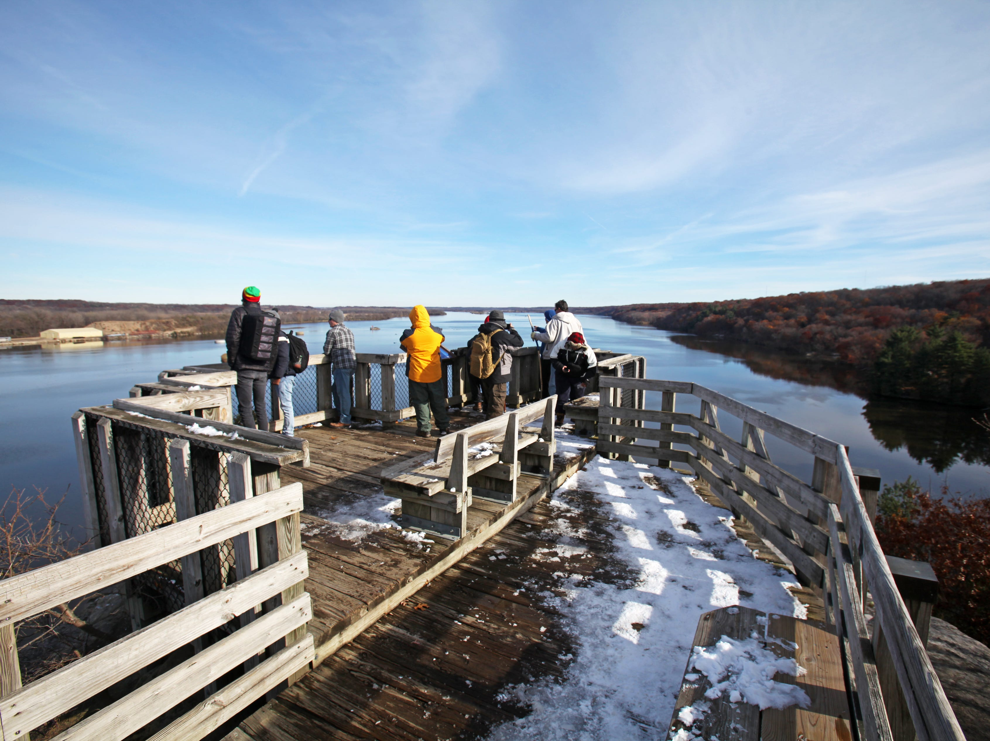 In the winter, visitors to Starved Rock State Park might spot a bald eagle from the Eagle Cliff Overlook.