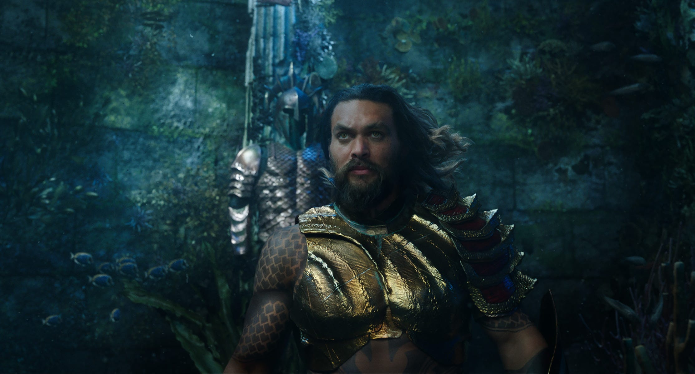 "Jason Momoa saves another world (or two) in ""Aquaman."""