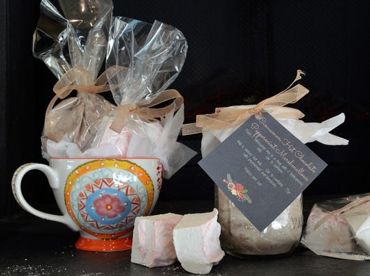 Package your hot chocolate mix and homemade peppermint marshmallows with a mug and instructions.