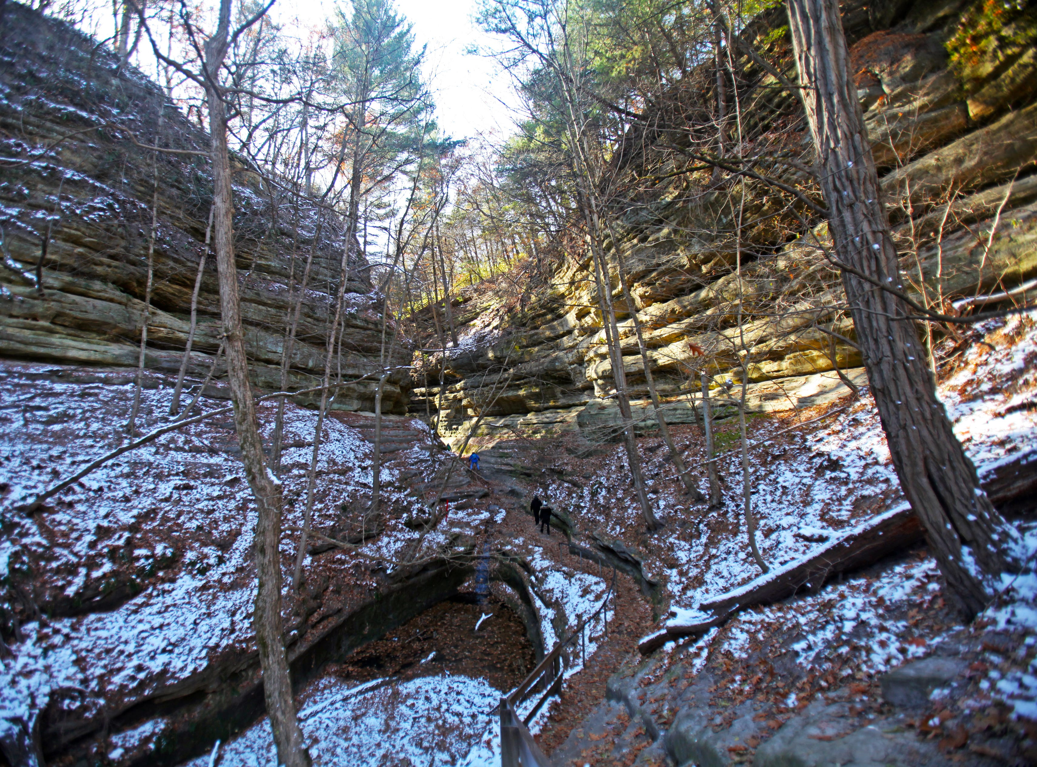 Snow covers parts of French Canyon in Starved Rock State Park outside Utica, Illinois.