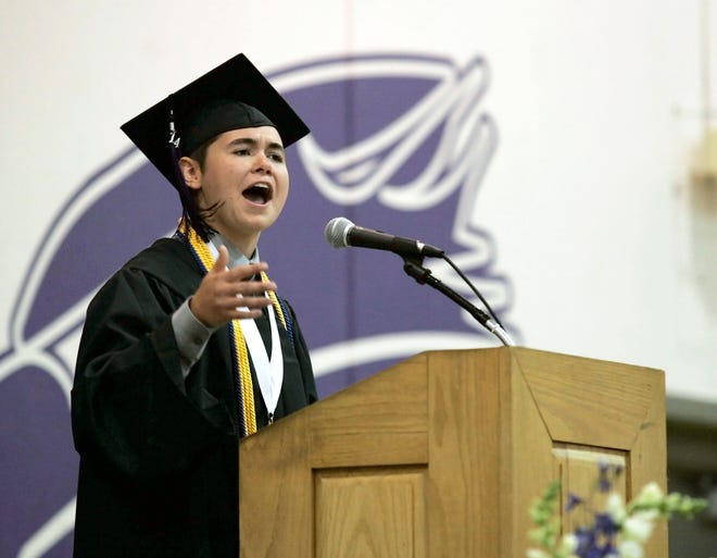 Palmyra-Eagle High School valedictorian Jax Beaudoin addresses the class of 2014 during the commencement ceremony June 1, 2014. Officials say the Palmyra-Eagle Area School District could dissolve if a spring 2019 referendum that would cover operational expenses and building maintenance costs doesn't pass.