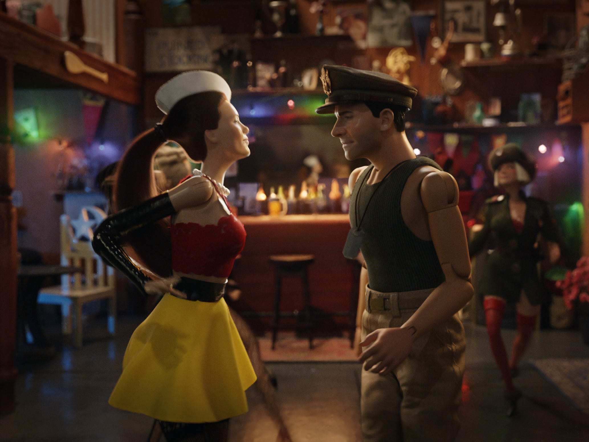 "Nicol (Leslie Mann) dances with Cap'n Hogie (Steve Carell) in ""Welcome to Marwen."""