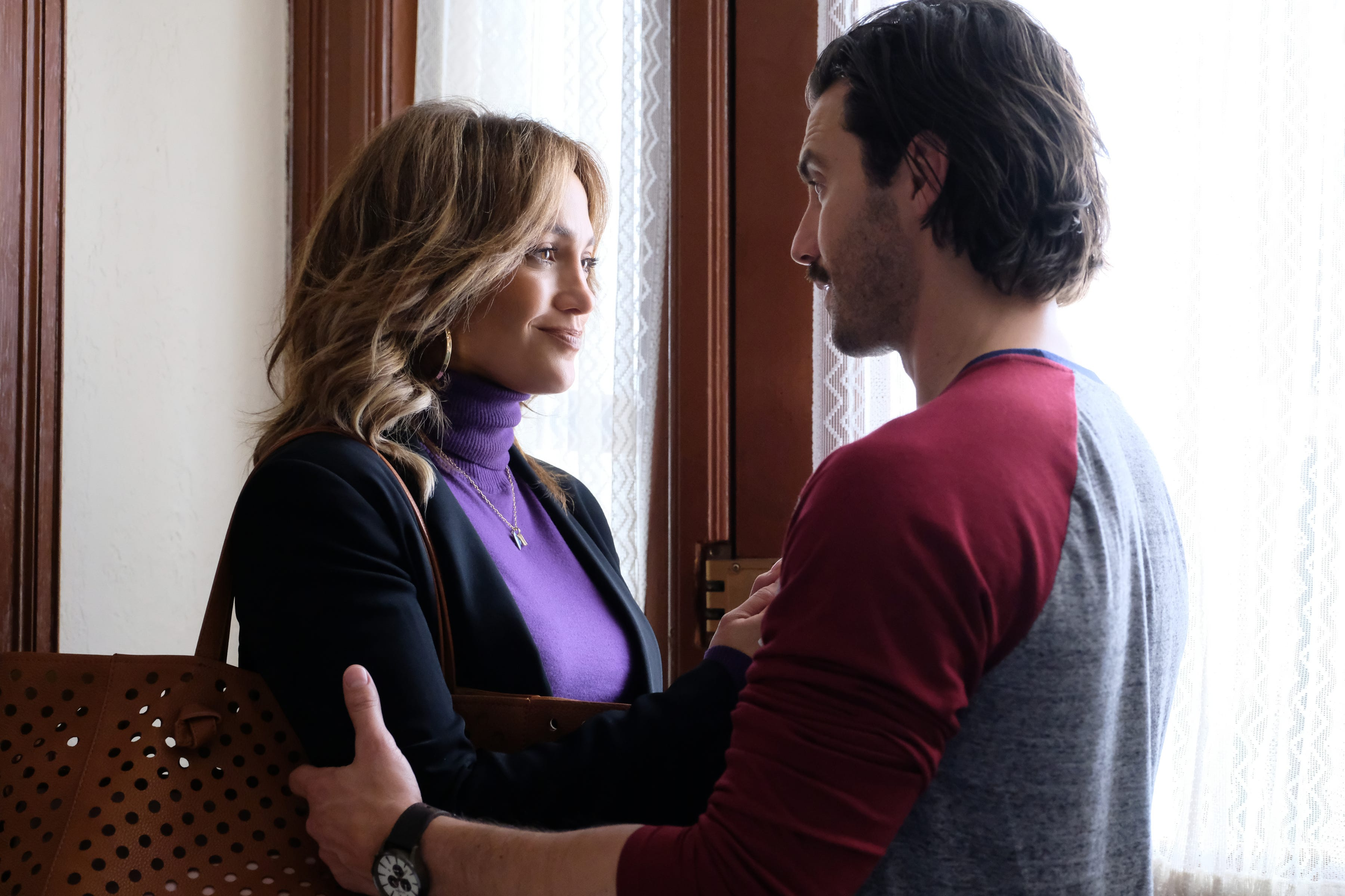 "Jennifer Lopez (left) and Milo Ventimiglia star in ""Second Act."""
