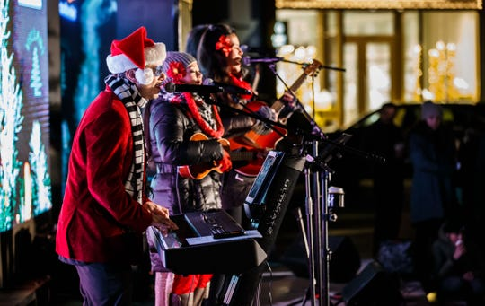"Milwaukee band Ocean Rush performs during the second annual ""Lighting of The Corners"" in Brookfield on Nov. 17, 2018.  This year's lighting ceremony is Nov. 23."