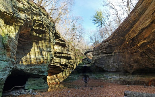A bridge crosses between the upper and lower dells in Matthiessen State Park outside Oglesby, Illinois.