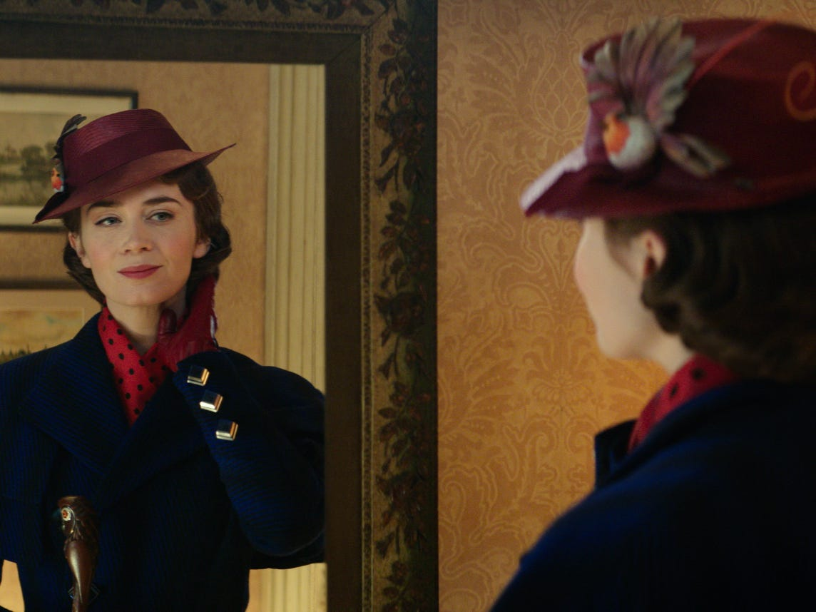 "Mary Poppins (Emily Blunt) comes back to help out the Banks children again in Disney's ""Mary Poppins Returns."""