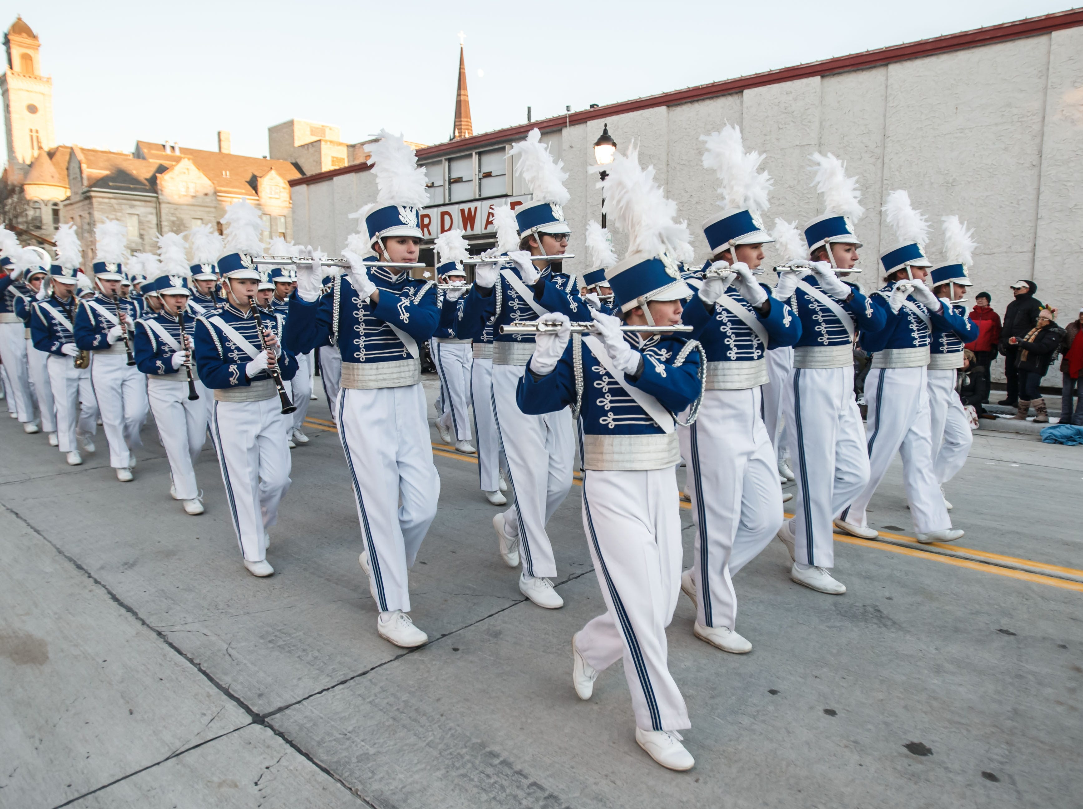 Members of the Waukesha West Marching Band participate in the 56th annual Waukesha Christmas Parade on Sunday, Nov. 18, 2018.