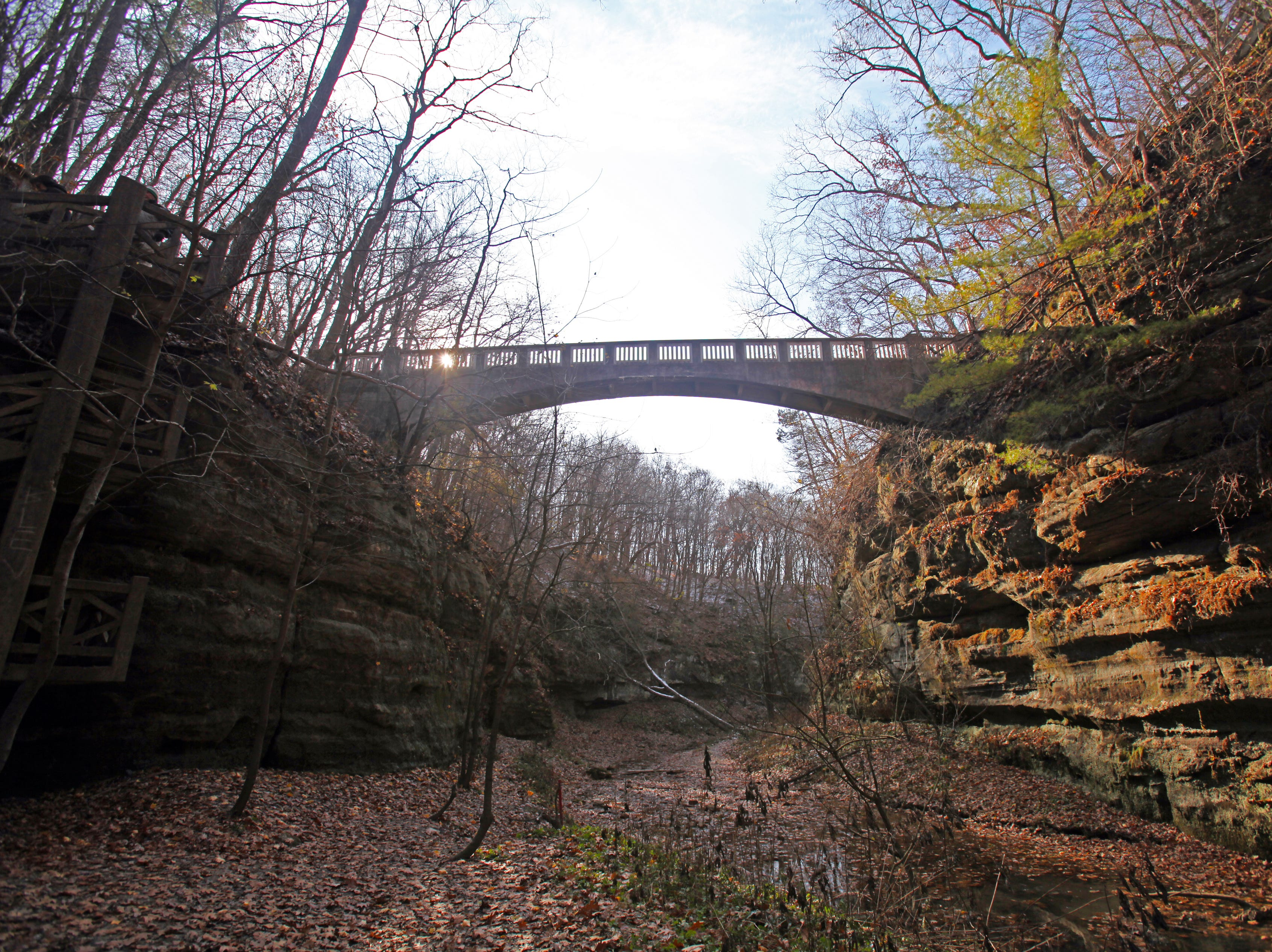 A bridge crosses over the lower dells in Matthiessen State Park near Oglesby, Illinois.