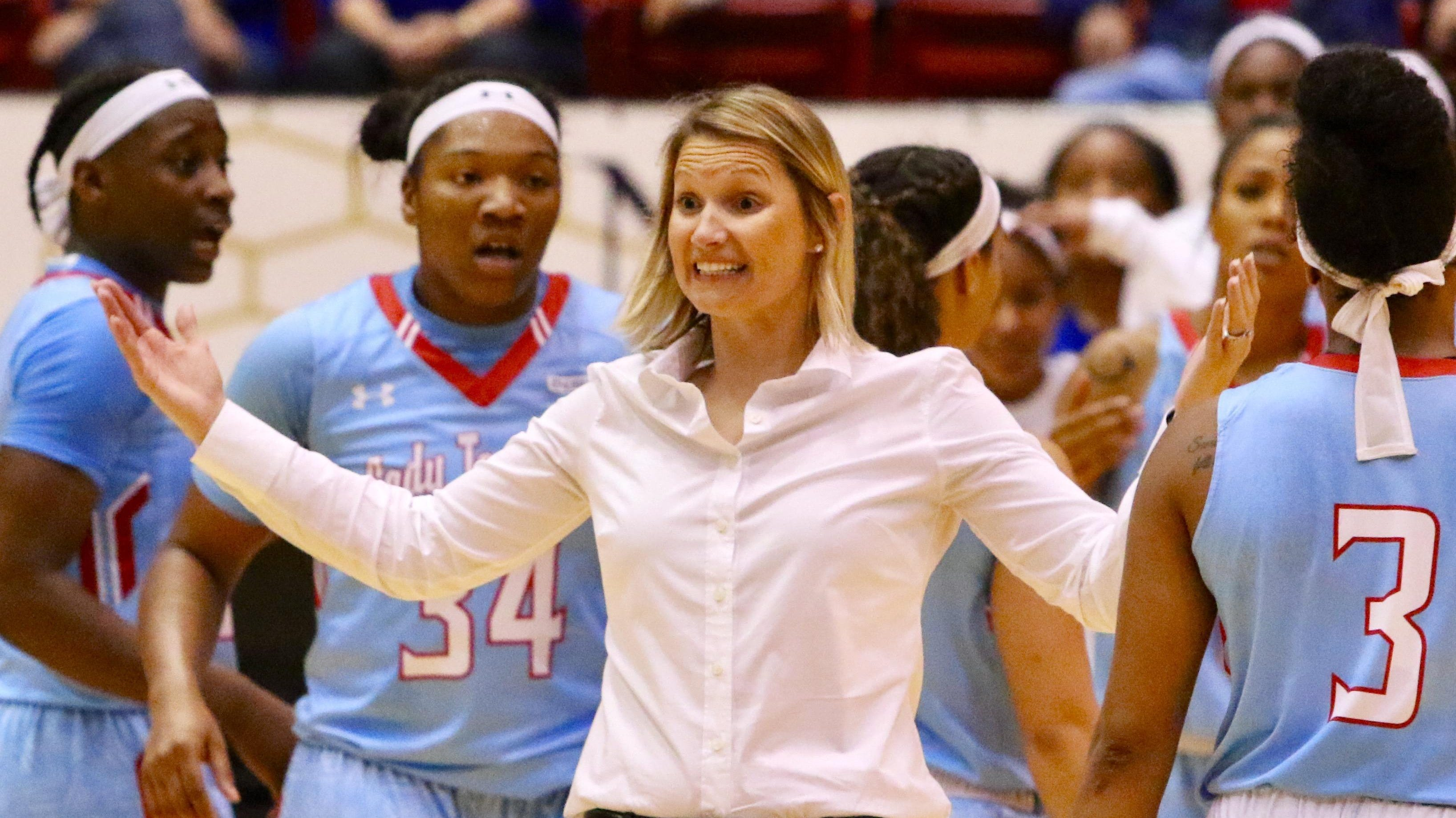 Lady Techsters coach Brooke Stoehr saw her team defeat Memphis on Sunday.