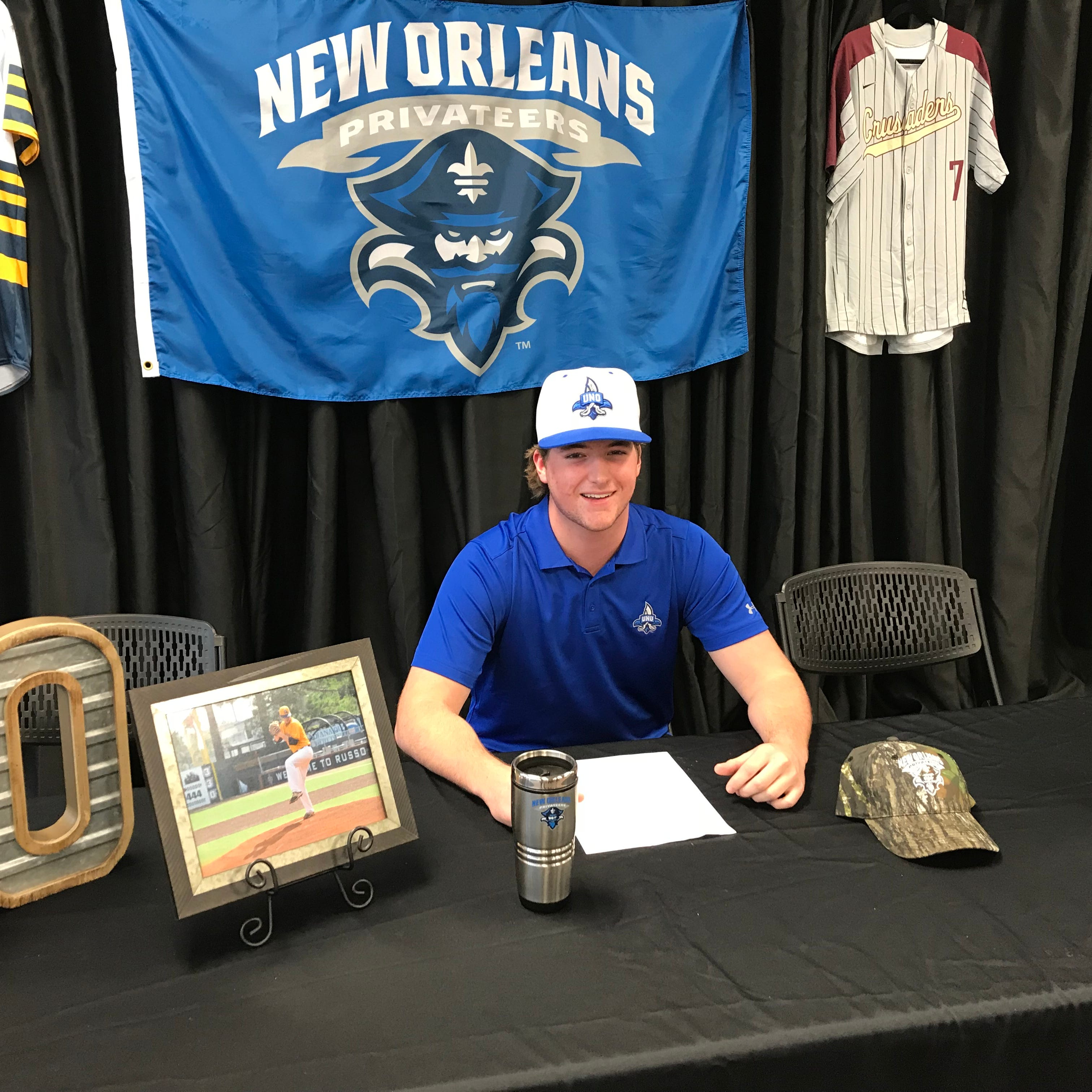 Austin Acree signed with the University of New Orleans on Monday at Claiborne Christian.
