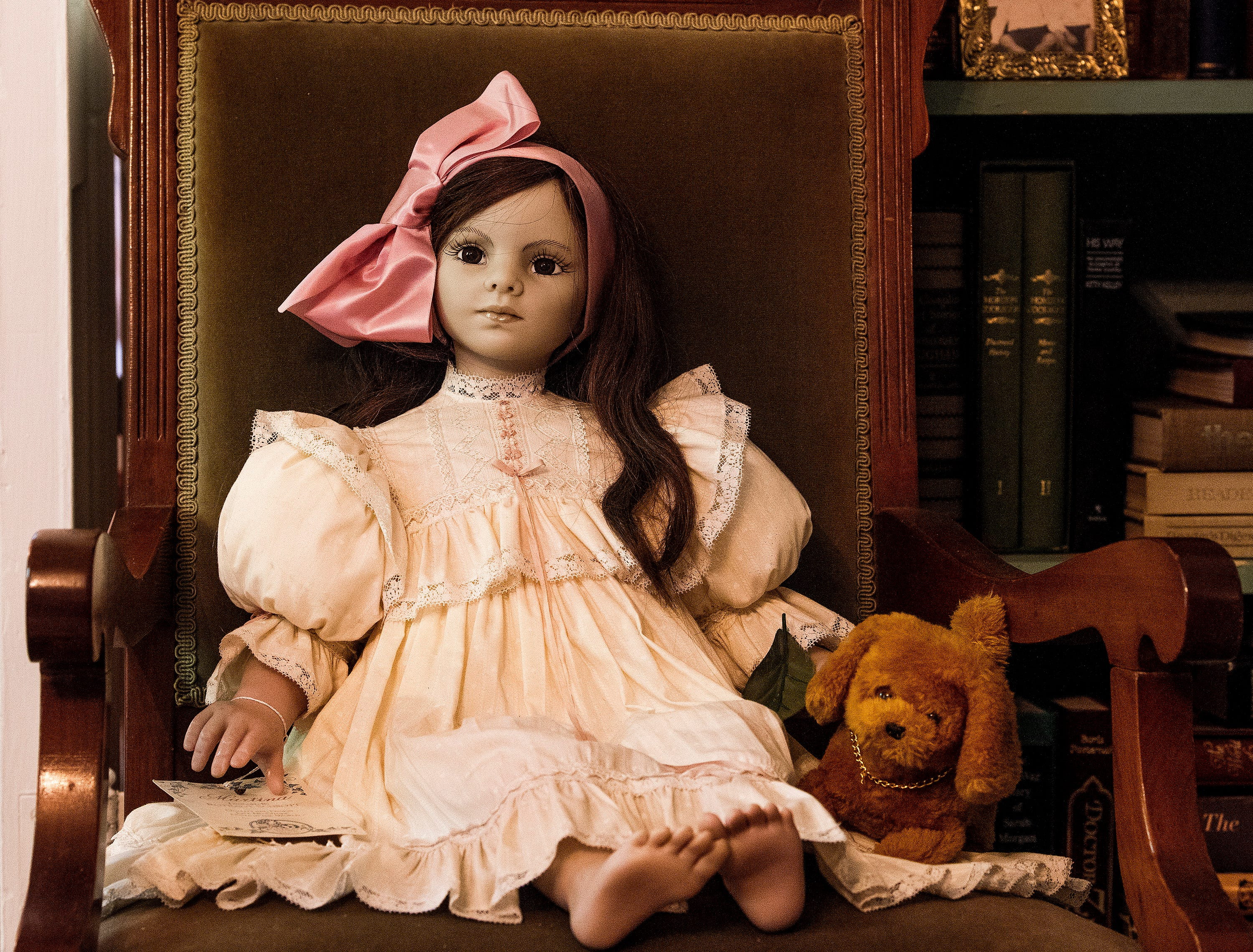 The doll collection of Eloise Downey, including one of her favorite dolls, is shown at her home in Montgomery, Ala., on Thursday November 15, 2018.