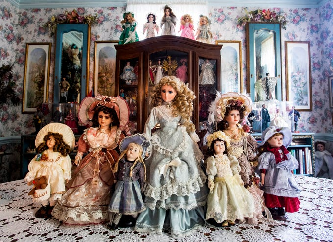 The doll collection of Eloise Downey is displayed at her home in Montgomery, Ala., on Thursday November 15, 2018.