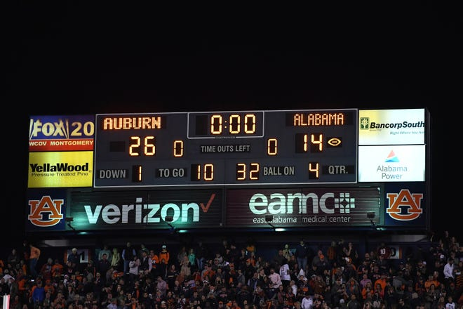 A view of the scoreboard after the Iron Bowl between Auburn and Alabama at Jordan-Hare Stadium on Nov. 25, 2017.