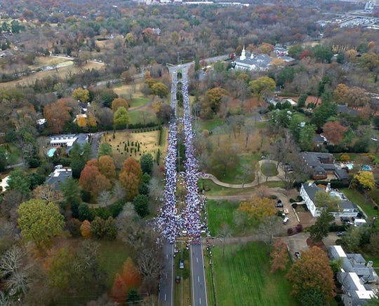 Aerial view of the start line of the 2016 Boulevard Bolt.