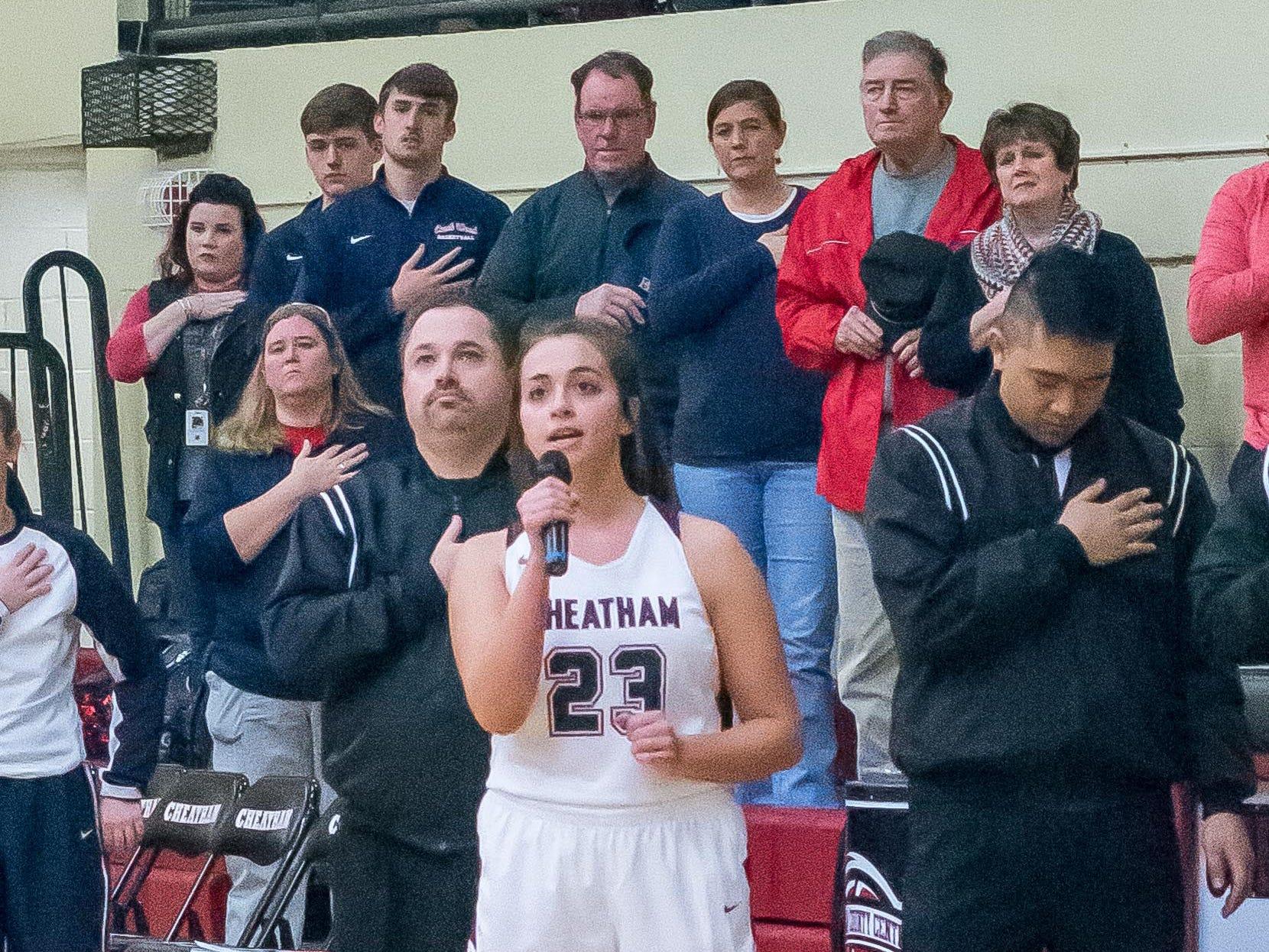 Cheatham County freshman Aubrey Johnson performs the national anthem.