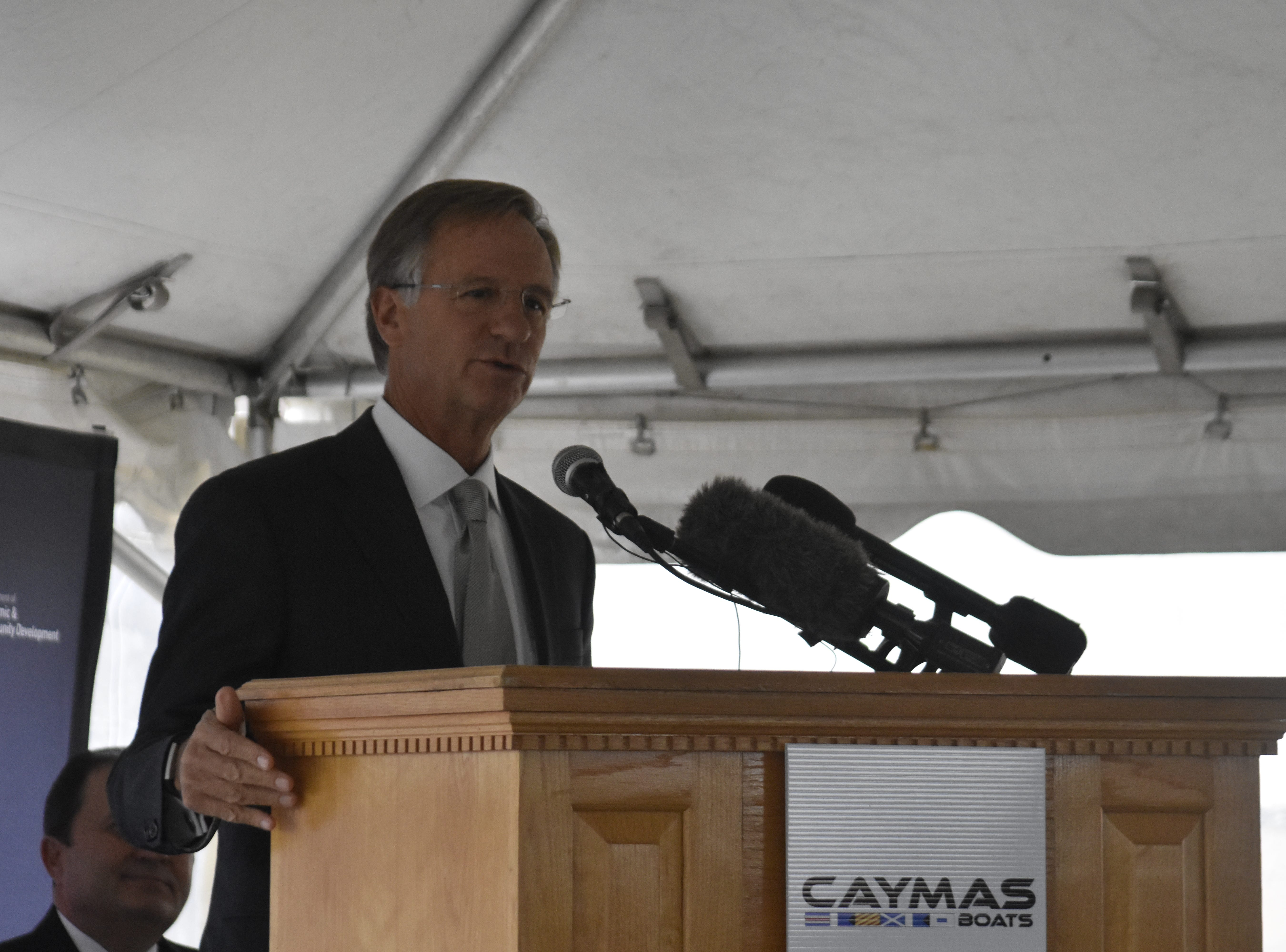 Gov. Bill Haslam speaks at the groundbreaking for Caymas Boats on Monday, Nov. 19 in Ashland City.