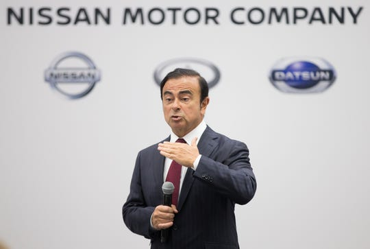 Carlos Ghosn, chairman, president and chief executive officer of Nissan Motor, speaking to reporters during a press conference at the 2016 North American International Auto Show in Detroit, Michigan, on Jan. 11, 2016.