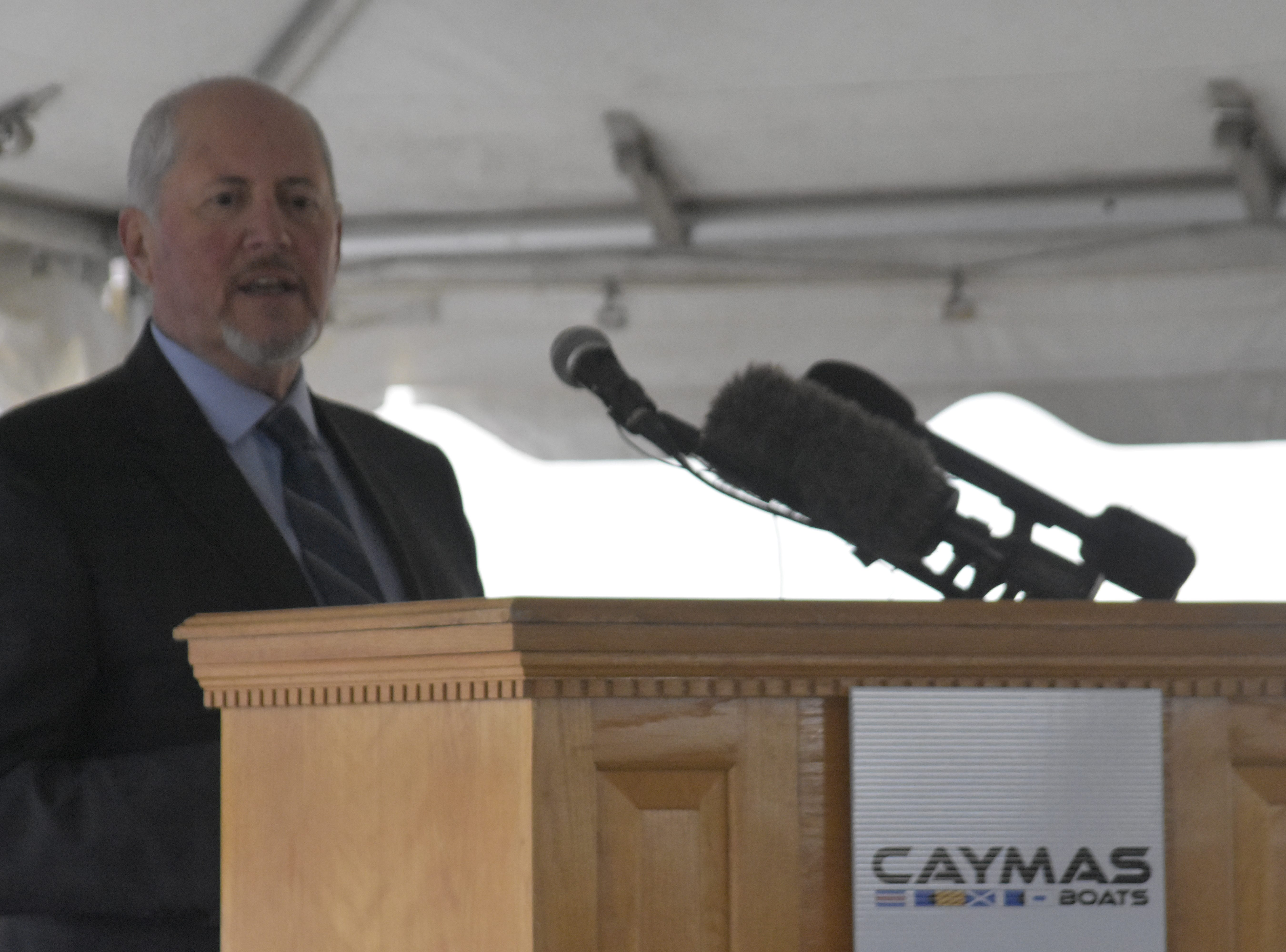 Cheatham County Economic and Community Development Director Jerome Terrell speaks at the groundbreaking for Caymas Boats on Monday, Nov. 19 in Ashland City.