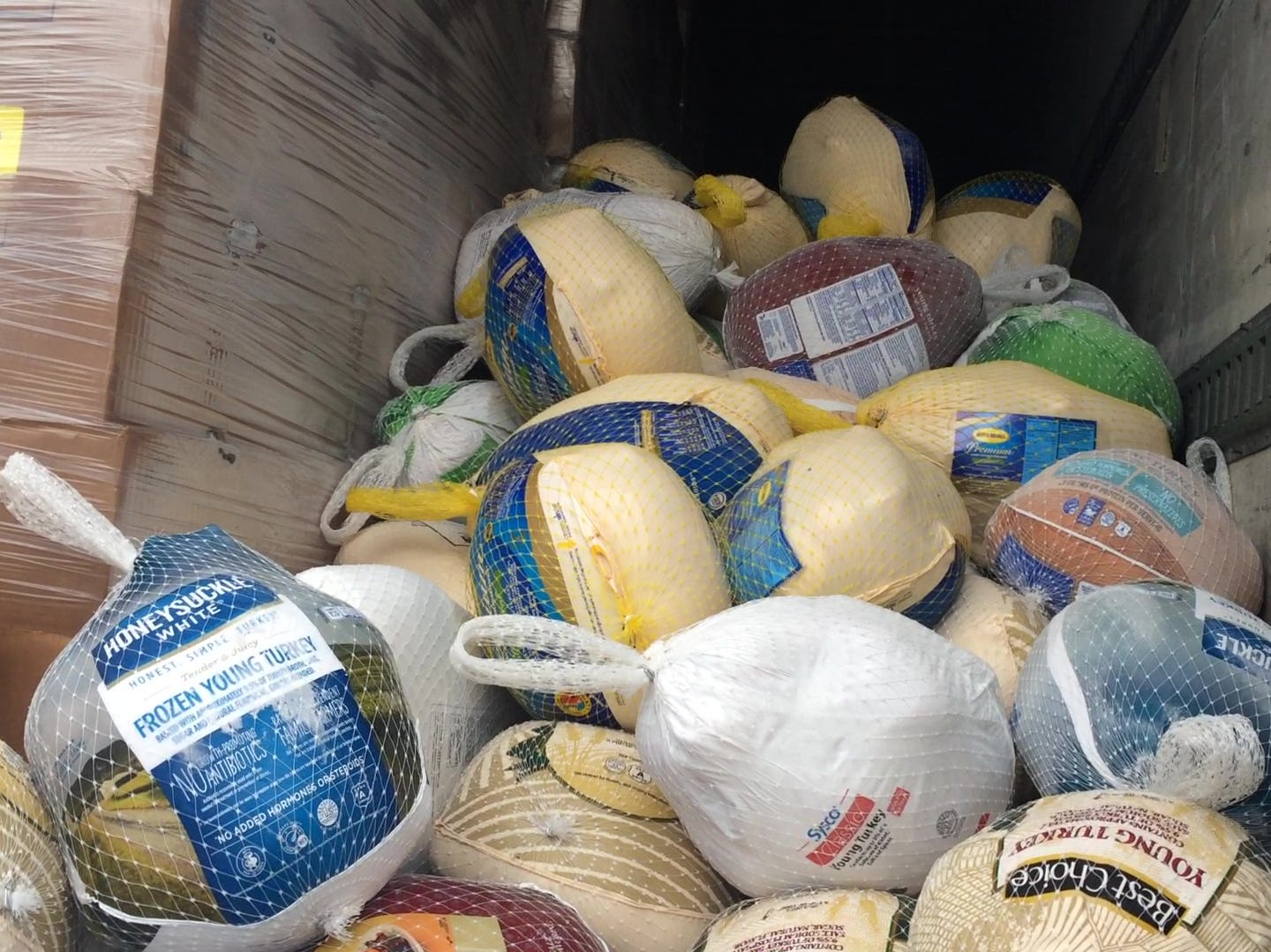 The hundreds of donated turkeys to be given out Monday.