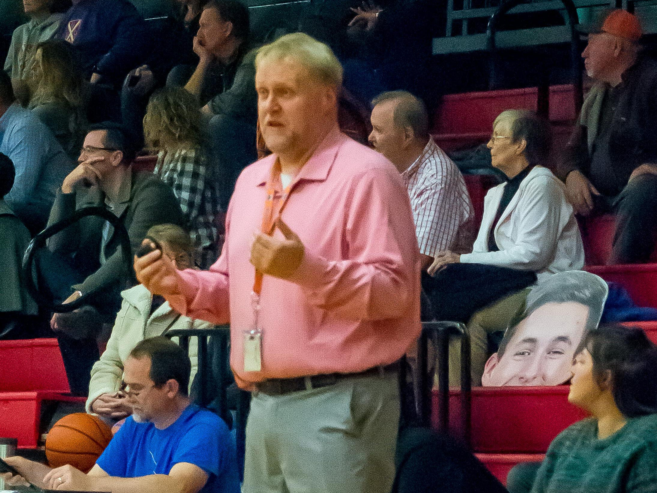 Harpeth girls basketball coach Jimmy Mitchell directs his team.
