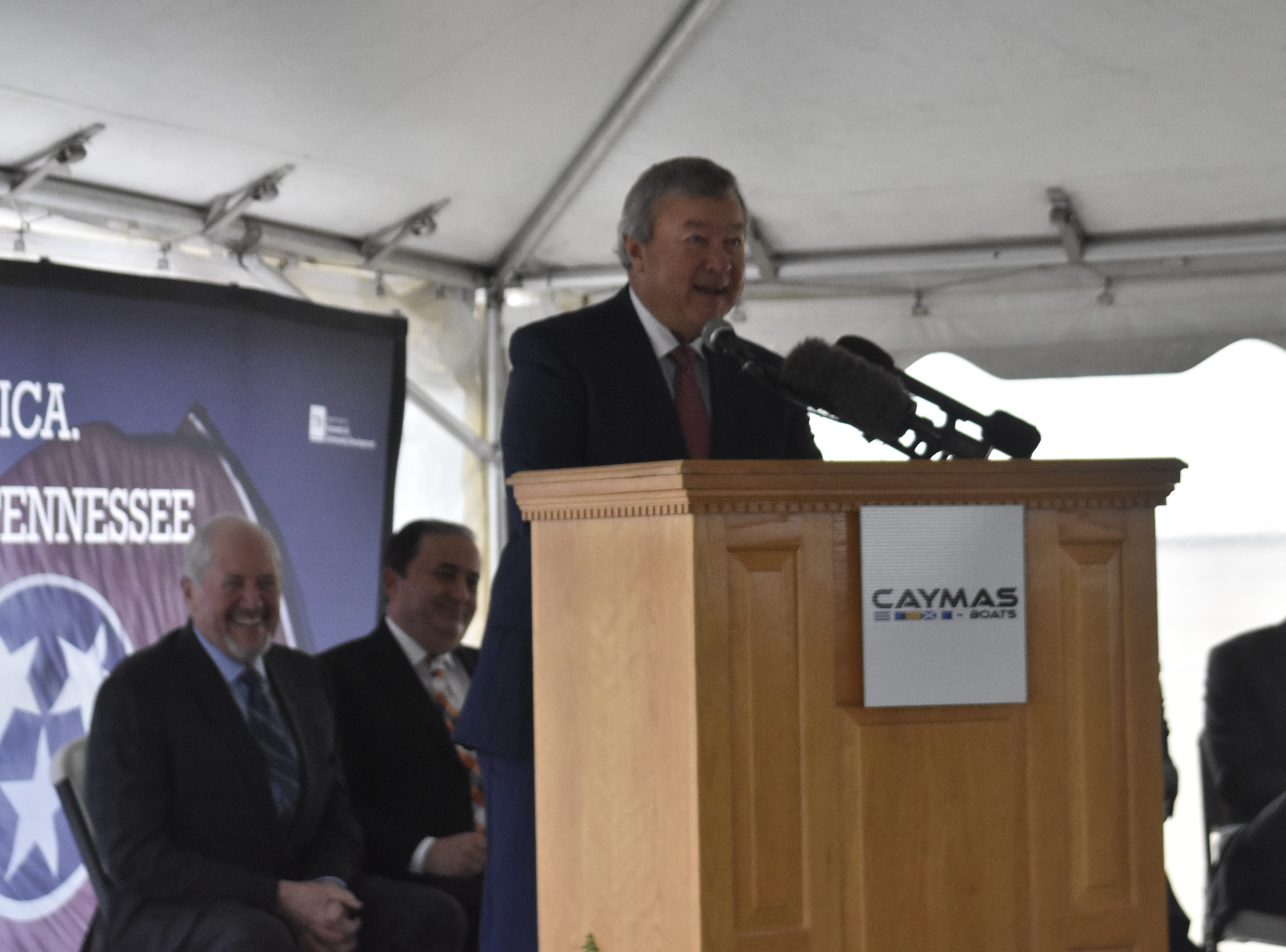 Earl Bentz, founder of Caymas Boats speaks at the groundbreaking for the company on Monday, Nov. 19 in Ashland City.