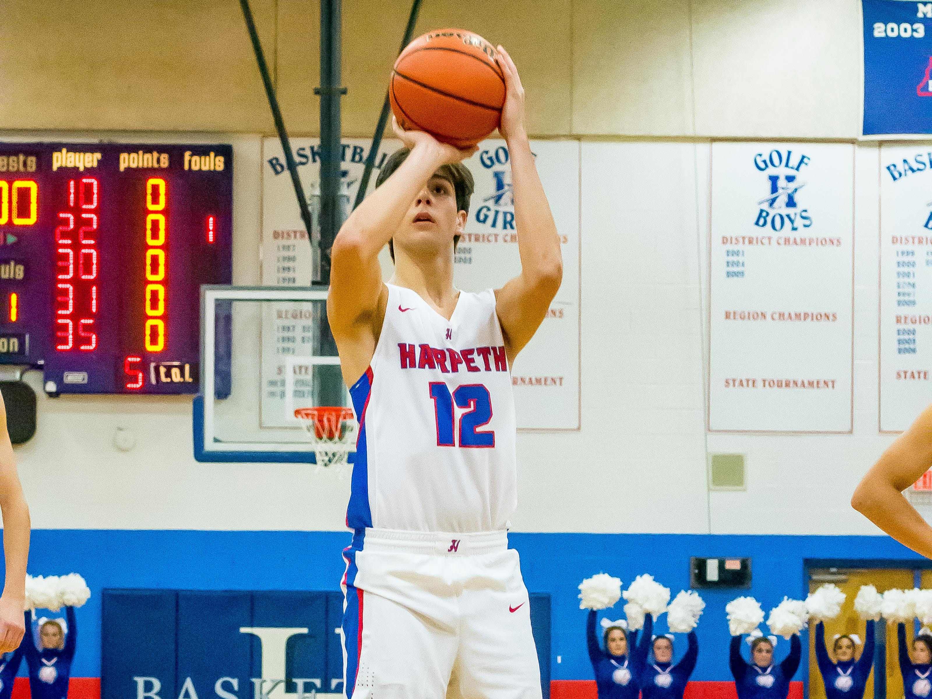 Harpeth's Grayson Maddox scored six points against Father Ryan.