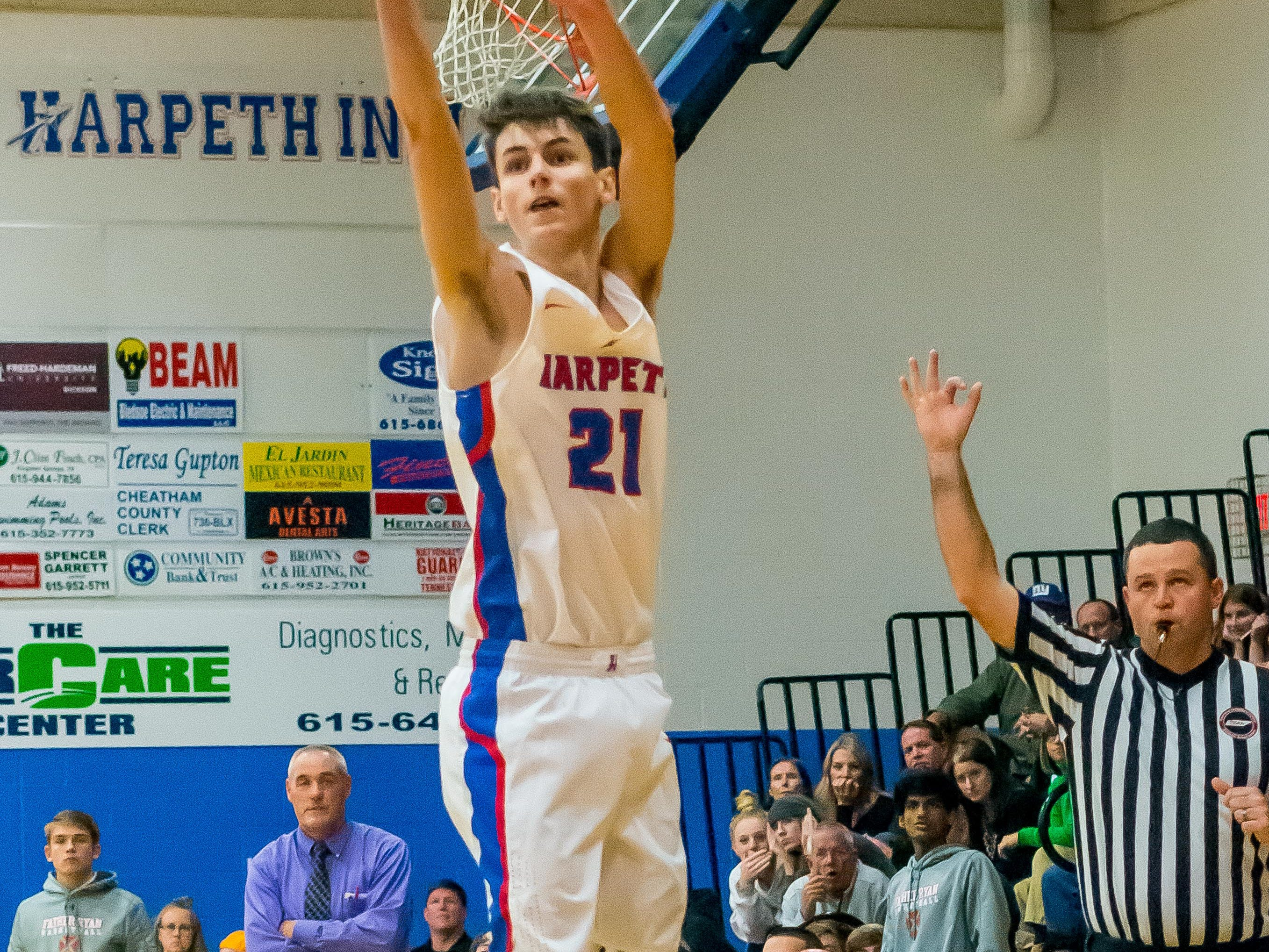 Harpeth senior Carter Hutchinson had not only the buzzer beater 3-pointer to put the game in overtime, but also hit the game-winning three to beat Father Ryan 55-50.