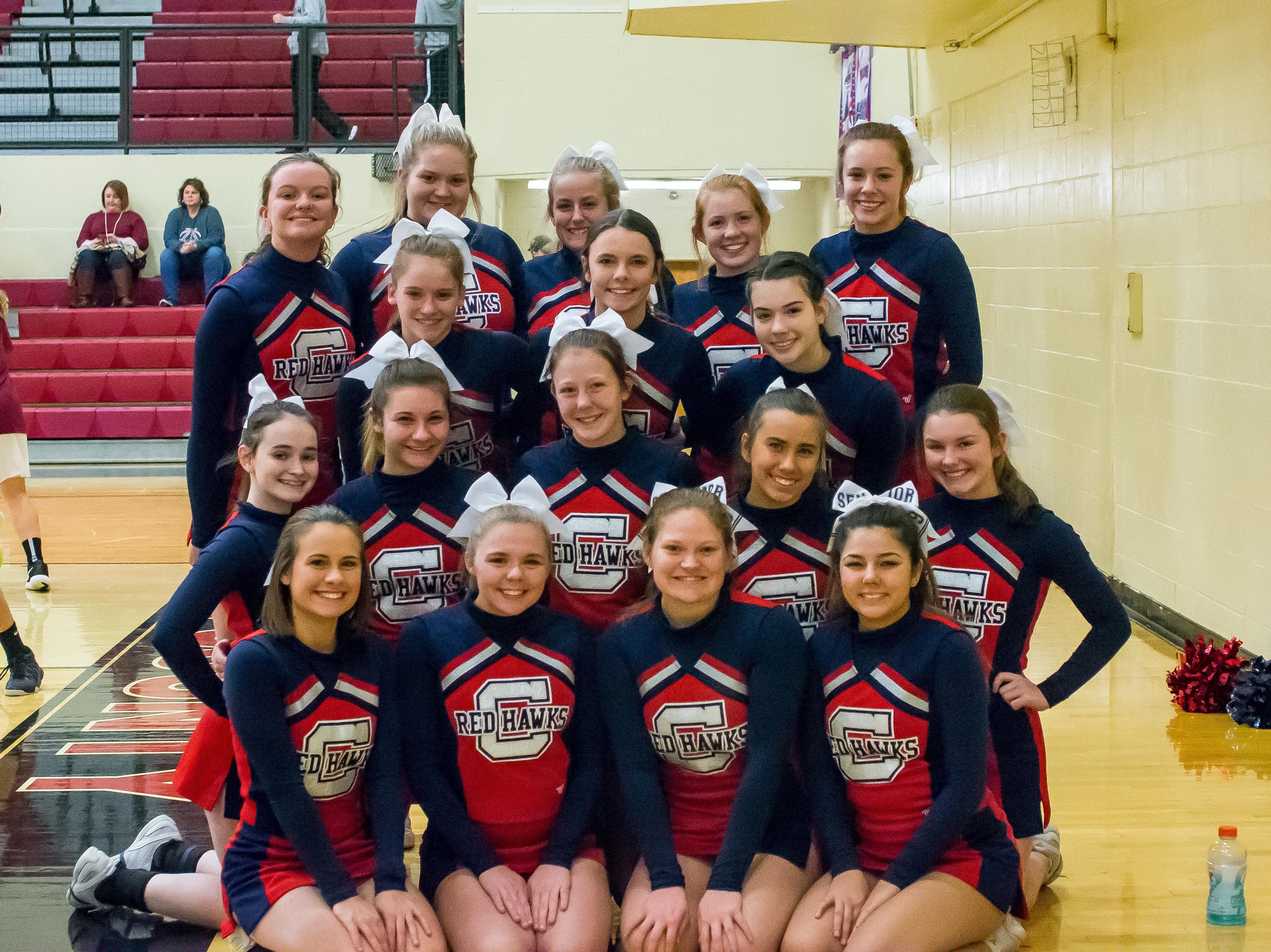 Creek Wood Lady Red Hawk Cheerleaders.