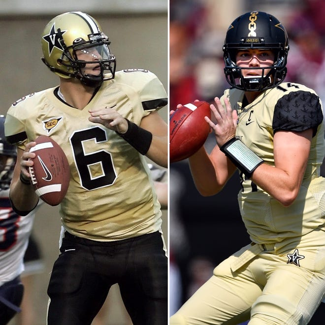 Vanderbilt's Jay Cutler, left, and Kyle Shurmur are the top two quarterbacks in program history statistically.