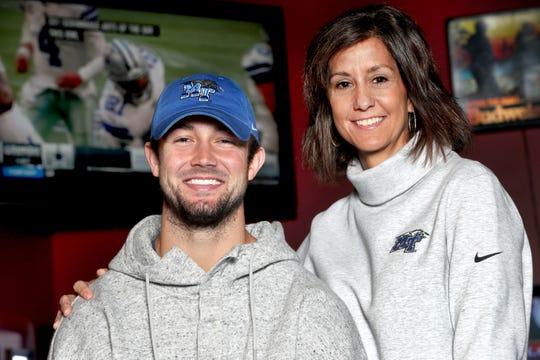 MTSU quarterback Brent Stockstill with his mom Sara Stockstill, on Monday, Nov. 19, 2018.