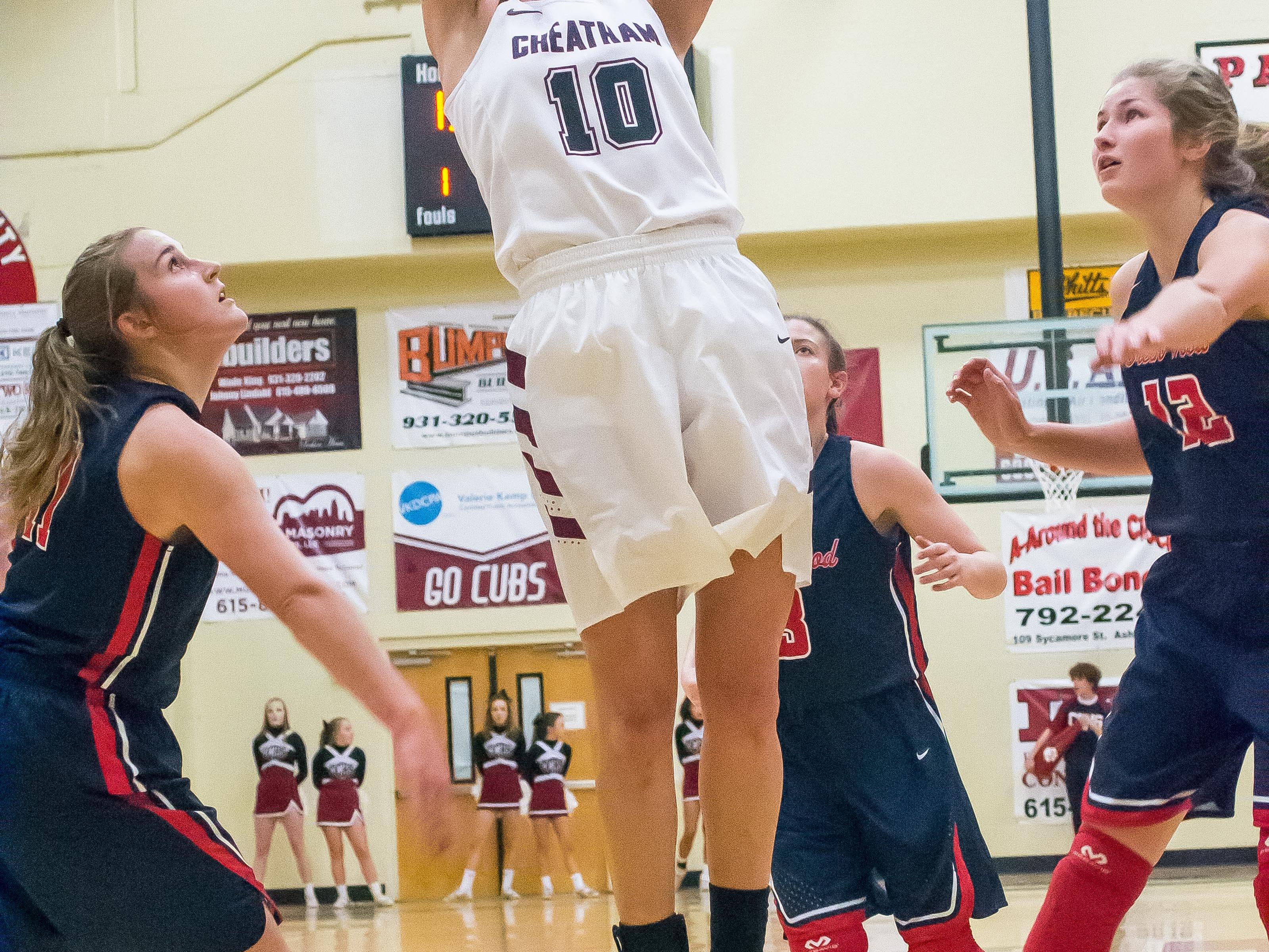 Cheatham County's Abbi Douglas goes up for a shot.