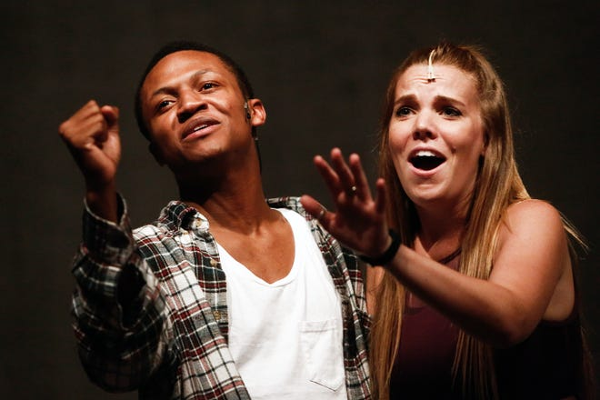 """Paige Raleigh and Chris Campbell perform during a rehearsal of """"Legally Blonde"""" at Sugden Theatre in Naples on Friday, June 26, 2015."""