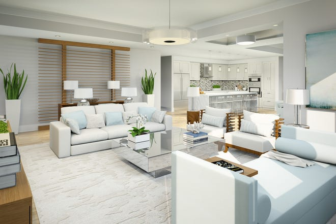 The two-story Phase III Fenwick plan at Naples Square offers3,238 square feet under air.