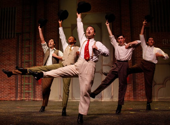 "Mark Vanagas, Chris Campbell, Jake Hanson, Dustin Schlairet and James Giordano in ""Dames,"" of ""42nd Street"" at the Sudgen Community Theatre in Naples, Fla., on Monday, June 27, 2011."