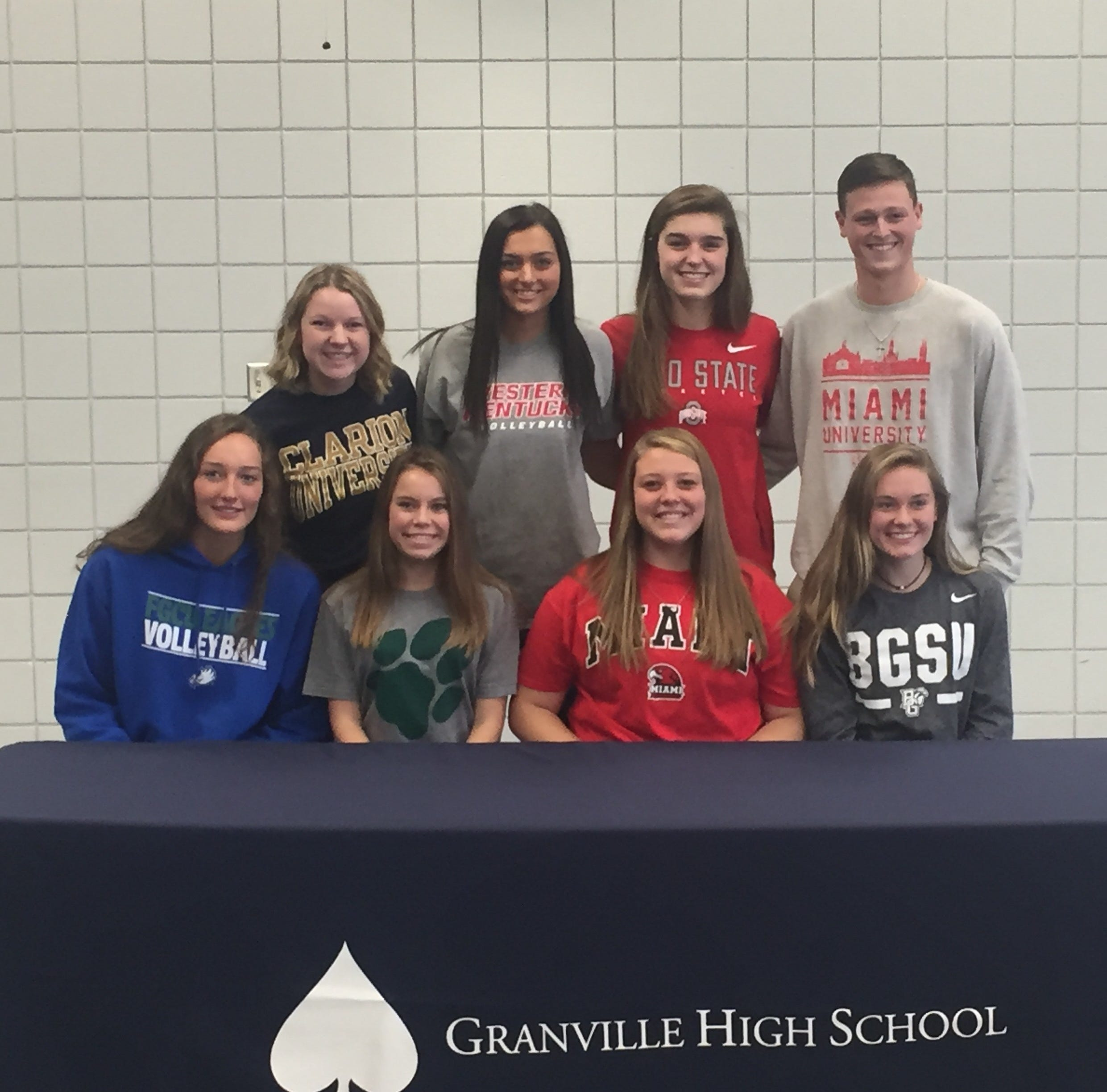 Front: Erin Shomaker, Alyssa Christian, Addison Hoover and Katie Cox. Back: Ally Gilliam, Jenn Rush, Chloe Mulford and Nate Stone.