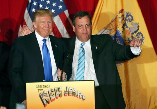 In this Thursday, May 19, 2016, file photograph, Republican presidential candidate Donald Trump, left, stands with New Jersey Gov. Chris Christie at a campaign event in Lawrenceville, N.J. Christie quickly became the biggest Republican name to throw his support behind Donald Trump after ending his own campaign. (AP Photo/Mel Evans, File)