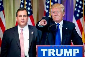 Republican presidential candidate Donald Trump, accompanied by New Jersey Gov. Chris Christie, left, takes questions March 1, 2016, from members of the media during a news conference on Super Tuesday primary election night at The Mar-A-Lago Club in Palm Beach, Fla.
