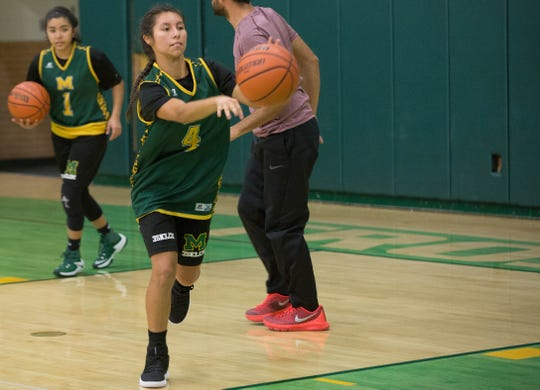 Brenda Prieto, passes a ball to a teammate during Mayfield High School girls basketball practice, Monday November 19, 2018.