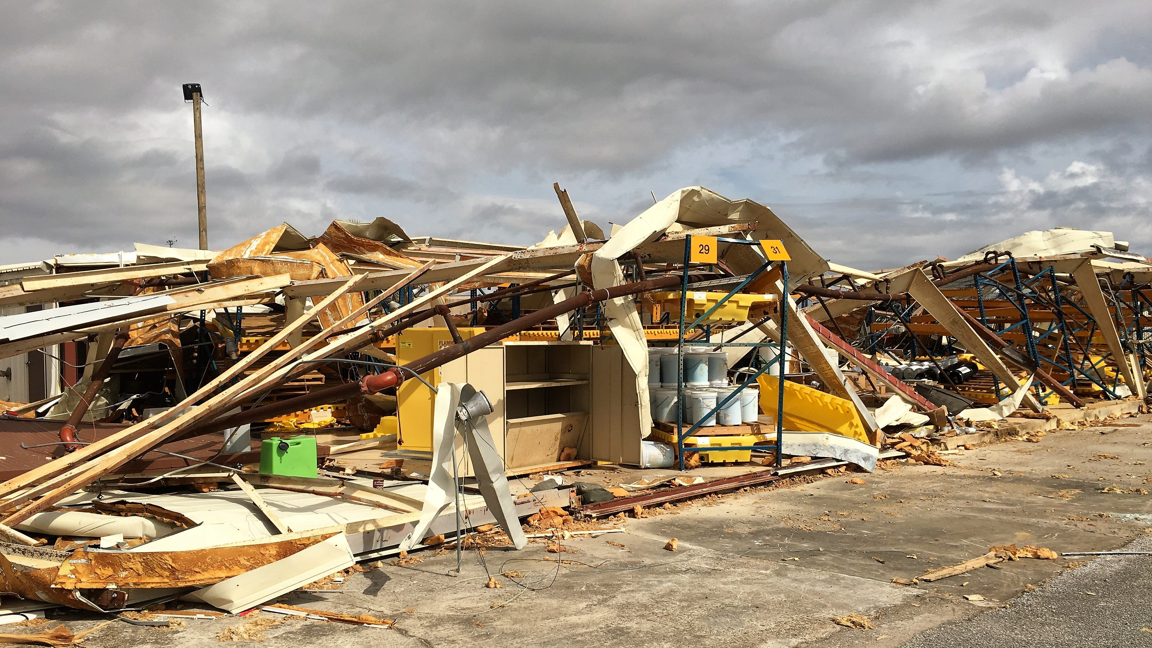 A destroyed civil engineering building on Tyndall Air Force Base, Fla., was among 1,165 environmental assets evaluated by an environmental recovery assistance team Nov. 5 – 9, 2018. The team's assessment of the environmental impact of Hurricane Michael on Tyndall AFB is helping recovery and rebuilding efforts at the base.