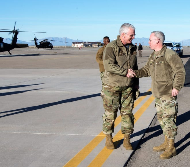 Brig. Gen. Greg Brady, White Sands Missile Range commander, greets Gen. Paul Selva, vice chairman of the Joint Chiefs of Staff, on Holloman Air Force Base, N.M., November 14, 2018. Selva visited Holloman November 13 to 14, and received a helicopter tour of White Sands Missile Range, N.M.