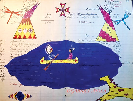 A piece from Ayala's ledger Art crossing over two cultures.