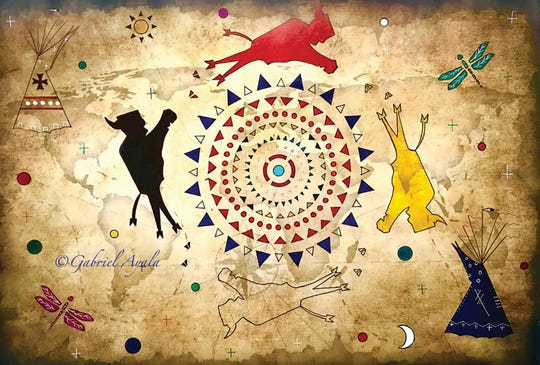 Ayala is an award winning artist and this piece by him is a form of Ledger Art that originated circa 1860.