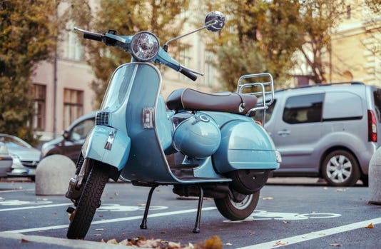 Old Italian Scooter Parked On The Street