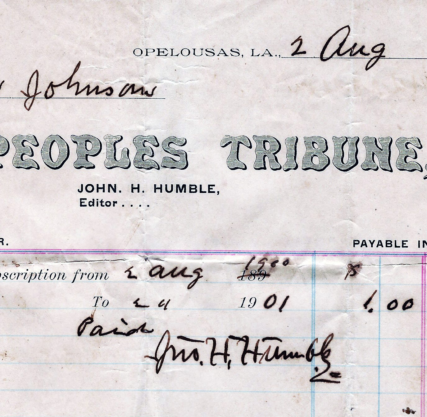 Parlons Opelousas: John H. Humble and The People's Tribune
