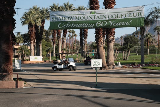 A banner reminds golfers at Shadow Mountain Golf Club in Palm Desert that this is the club's 60th years, making it the oldest course in Palm Desert.