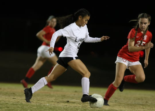 Cathedral City's Angel Longoria controls the ball during the game in Palm Desert on Thursday, November 15, 2018.